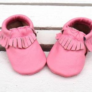 Genuine Leather Baby Moccasins Pink..