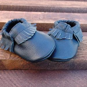 Genuine Leather Baby Moccasins Blac..