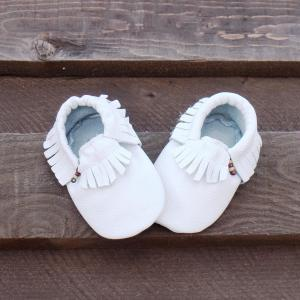 Genuine Leather Baby Moccasins Whit..