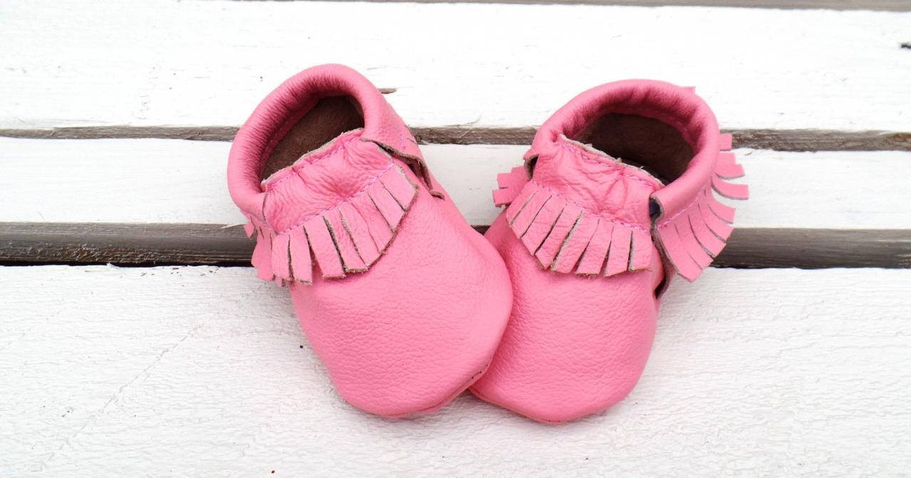 Genuine Leather Baby Moccasins Pink 0 To 6 Month