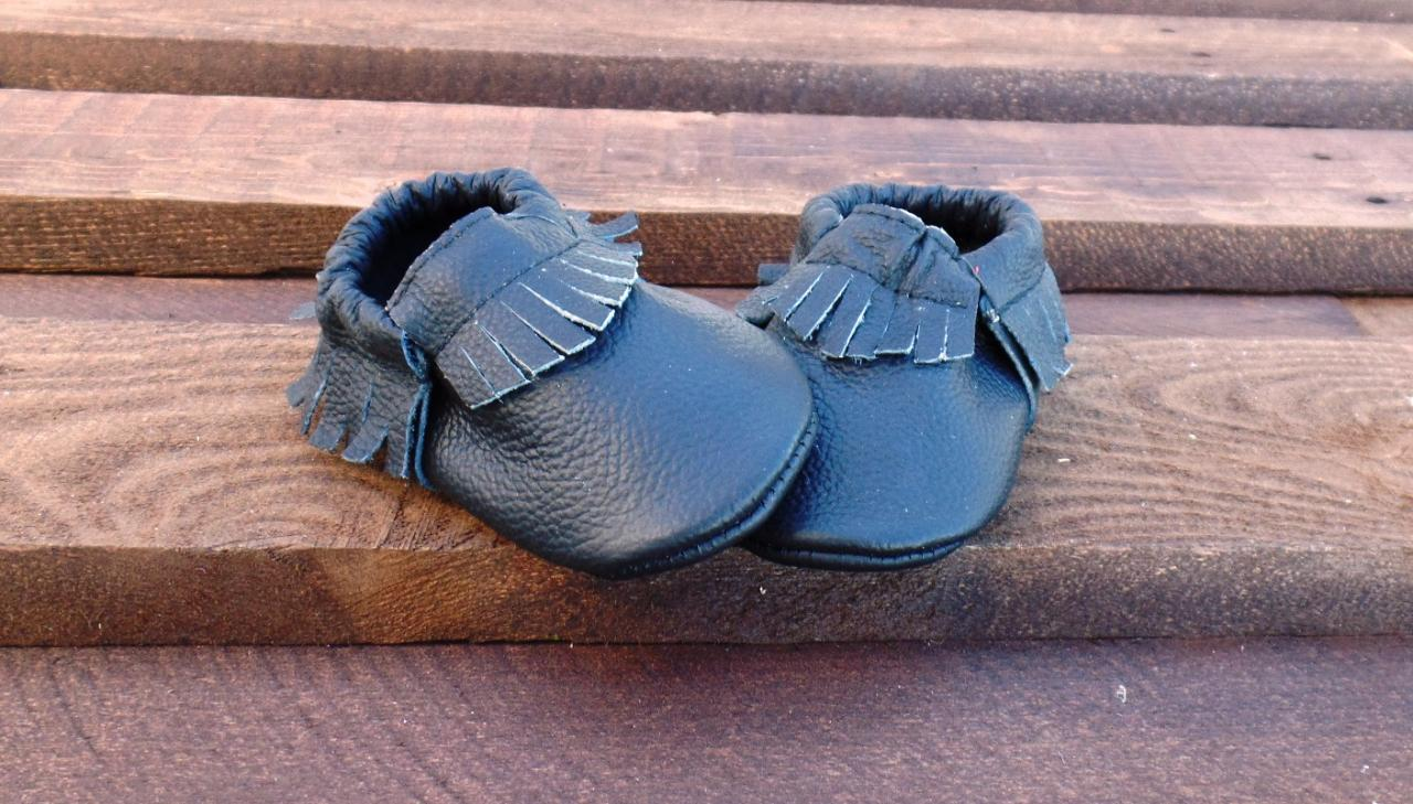 Genuine Leather Baby Moccasins Black 0 To 6 Month