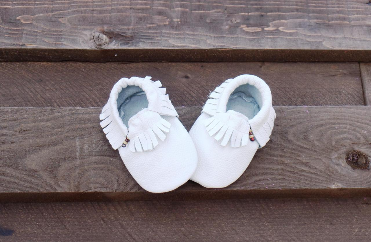 Genuine Leather Baby Moccasins White 6 To 12 Month