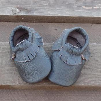 Genuine Leather Baby Moccasins Brown 0 To 6 Month